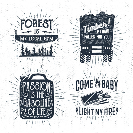 logging: Hand drawn vintage badges set with textured saw, logging truck, matches, and jerrycan vector illustrations and inspirational lettering. Illustration