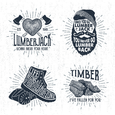 tree cross section: Hand drawn vintage badges set with textured tree trunk, crossed axes, bearded face, boots, and timber vector illustrations and inspirational lettering.