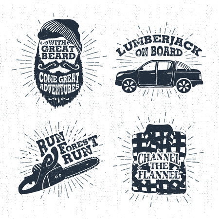 Hand drawn vintage badges set with textured bearded face, pickup truck, chainsaw, and plaid shirt vector illustrations and inspirational lettering.
