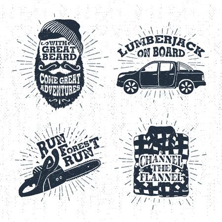 insignias de época drenado mano de la textura con la cara con barba, camioneta, motosierra, y las ilustraciones de vectores camisa a cuadros y las letras de inspiración. Ilustración de vector