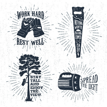 Hand drawn vintage badges set with textured working gloves, saw, scots pine, and flashlight vector illustrations and inspirational lettering.