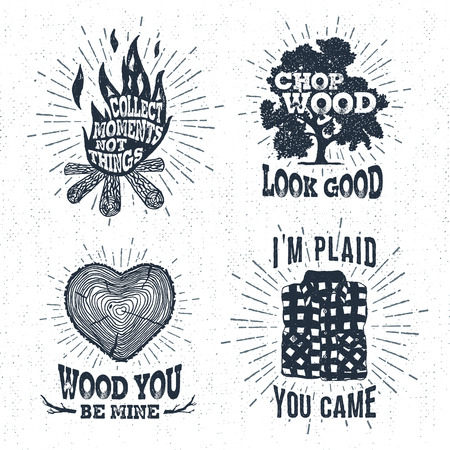 Hand drawn vintage badges set with textured bonfire, oak tree, tree trunk, and plaid shirt vector illustrations and inspirational lettering. Illustration