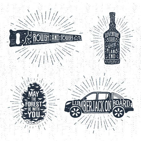 fir cone: Hand drawn vintage badges set with textured saw, whiskey bottle, fir tree cone, and pickup truck vector illustrations and inspirational lettering.
