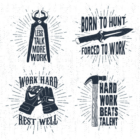 pincers: Hand drawn vintage badges set with textured pincers, hunting knife, working gloves, and hammer vector illustrations and inspirational lettering.