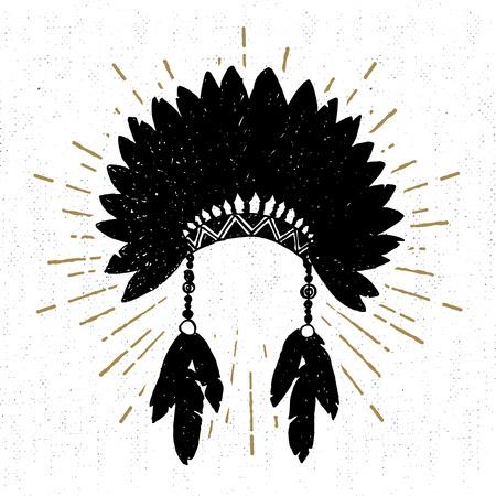 headdress: Hand drawn tribal icon with a textured headdress vector illustration.