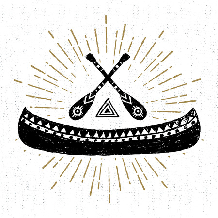 Hand drawn tribal icon with a textured canoe vector illustration.