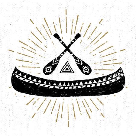 Dibujado a mano icono de la tribu con una ilustración vectorial con textura canoa.