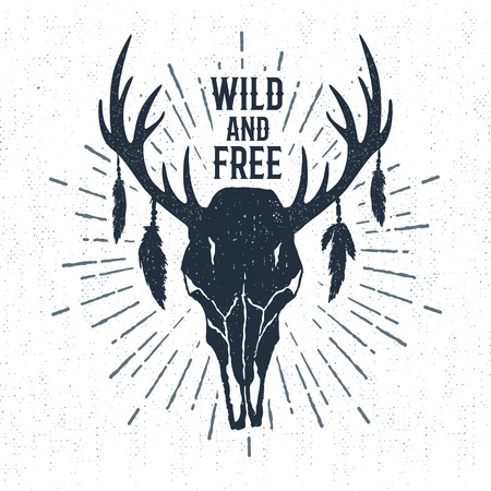 Hand drawn tribal label with textured deer skull vector illustration and Wild and free inspirational lettering.