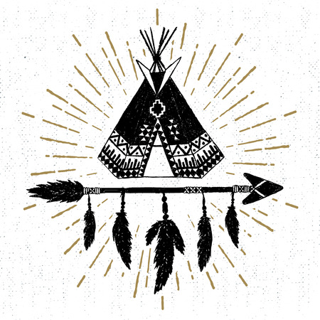 tipi: Hand drawn tribal icon with a textured teepee vector illustration.