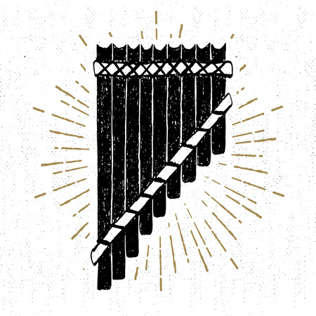 panpipe: Hand drawn tribal icon with a textured pan flute vector illustration. Illustration