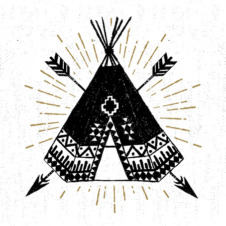 wigwam: Hand drawn tribal icon with a textured teepee vector illustration.