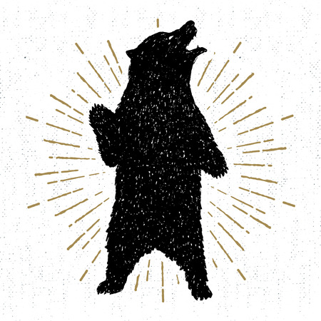 Hand drawn tribal icon with a textured grizzly bear illustration.