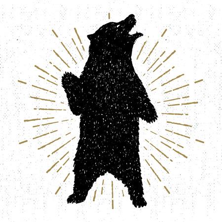 Icône tribale dessiné main avec une illustration de grizzli texturé.