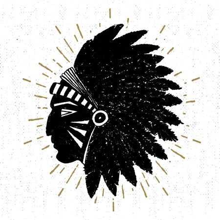 indian chief: Hand drawn tribal icon with a textured American indian chief illustration. Illustration