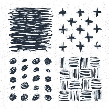 crosses: Hand drawn backgrounds set with crosses, dots, and scratch marks. Vector illustration.