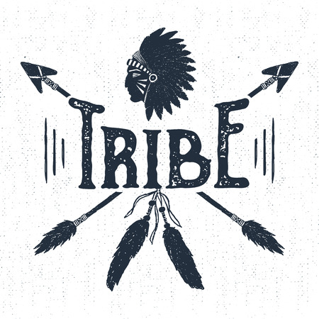 Hand drawn tribal label with textured headdress and arrows vector illustration and Tribe lettering. Illustration