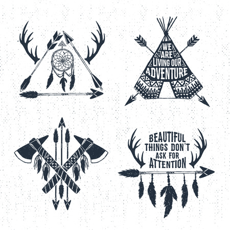 teepee: Hand drawn tribal labels set with arrows, teepee, tomahawks, and feathers vector illustrations and inspirational lettering.