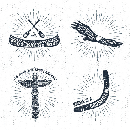 Hand drawn tribal labels set with canoe, eagle, totem pole, and boomerang vector illustrations and inspirational lettering. 일러스트