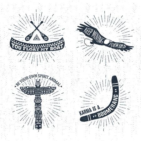 Hand getrokken tribal labels set met kano, adelaar, totempaal, en boomerang vector illustraties en inspirerende belettering.