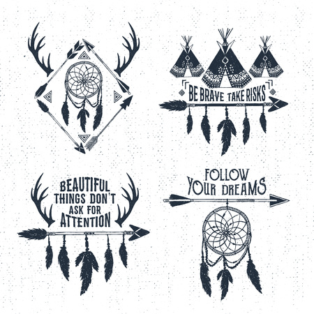 wigwam: Hand drawn tribal labels set with arrows, teepees, dream catcher, and horns vector illustrations and inspirational lettering.