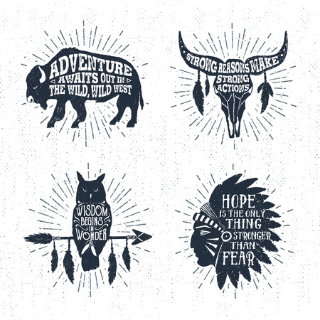Hand drawn tribal labels set with buffalo, skull, owl, and headdress vector illustrations and inspirational lettering.