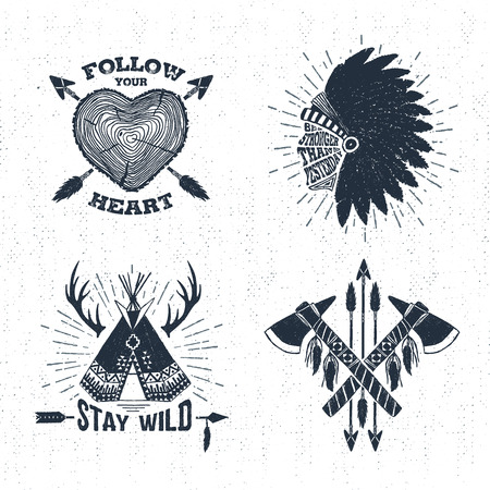 wigwam: Hand drawn tribal labels set with tree trunk, tomahawks, and teepee vector illustrations and inspirational lettering.