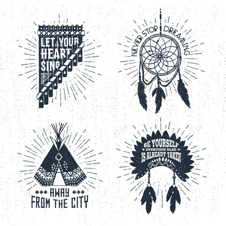 Hand drawn tribal labels set with pan flute, dream catcher, teepee, and headdress vector illustrations and inspirational lettering.
