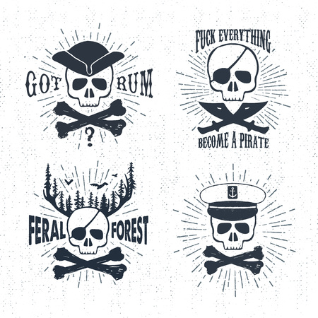 skull with crossed bones: Hand drawn textured vintage labels set with pirate skulls vector illustrations, and inspirational lettering.
