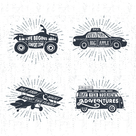 Hand drawn textured vintage labels set with quad bike, taxi, biplane, van, and lettering vector illustrations. Illustration
