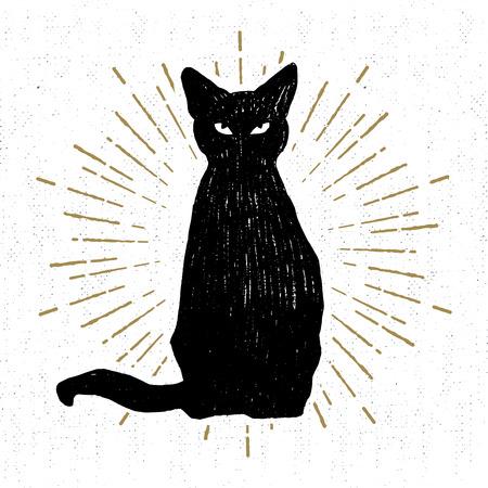 Icona disegnata a mano di Halloween con un'illustrazione strutturata di vettore del gatto nero.