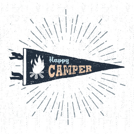 Hand drawn adventure pennant flag vector illustration and Happy camper inspirational lettering.
