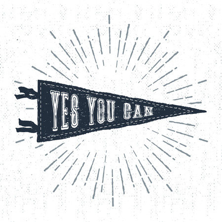 can yes you can: Hand drawn adventure pennant flag vector illustration and Yes, you can inspirational lettering.