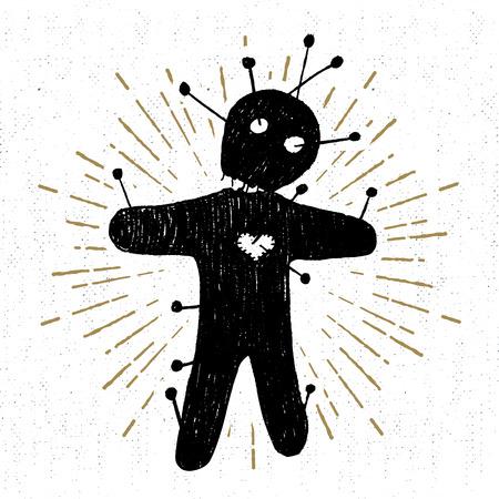 Hand getekend Halloween-pictogram met een getextureerde voodoo-poppen vectorillustratie.