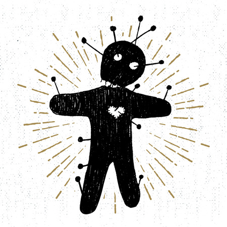Hand drawn Halloween icon with a textured voodoo doll vector illustration.