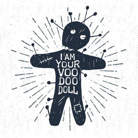 Hand drawn Halloween label with textured voodoo doll vector illustration and I am your voodoo doll lettering.
