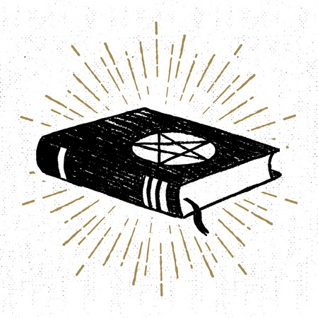 Hand drawn Halloween icon with a textured spells book vector illustration.