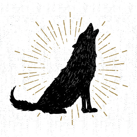 Hand drawn Halloween icon with a textured wolf vector illustration.