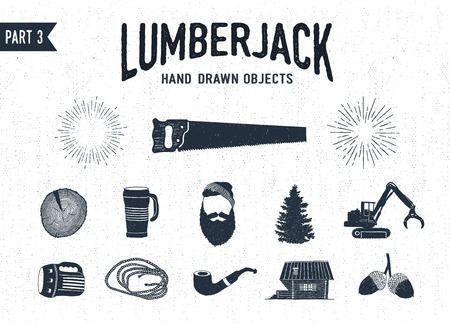 Hand drawn lumberjack textured icons set 3. Vector illustrations.
