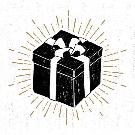 Hand drawn party icon with textured gift box vector illustration.