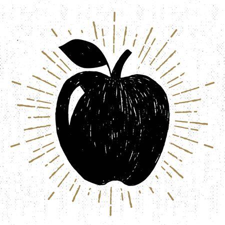 Hand getekend pictogram met getextureerde appel vectorillustratie.