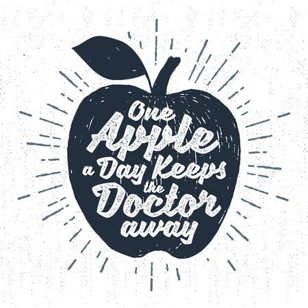 """Hand getrokken label met geweven appel vector illustratie en """"Een appel per dag houdt de dokter weg"""" belettering. Stock Illustratie"""