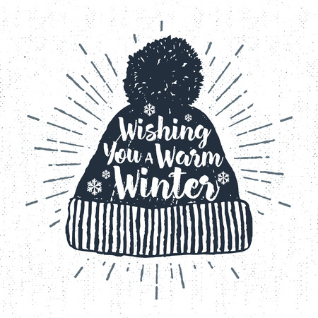 Hand drawn label with textured winter cap vector illustration and Wishing you a warm winter lettering.