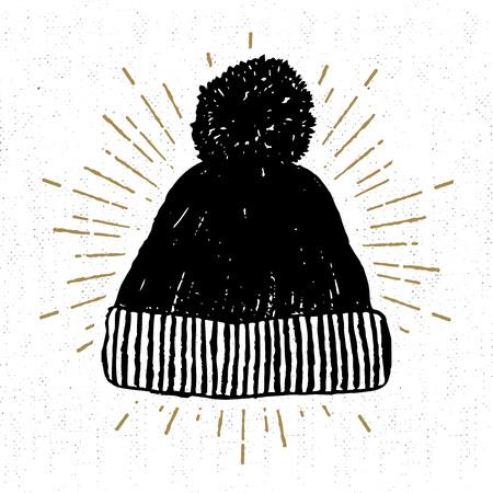 Hand gezeichnete Ikone mit strukturierter Winterkappenvektorillustration. Standard-Bild - 69214729