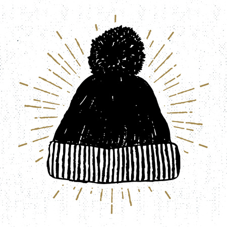 Hand drawn icon with textured winter cap vector illustration.