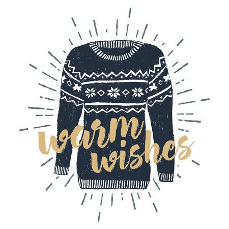 """label met getextureerde kerst trui illustratie en """"warme wensen"""" belettering."""