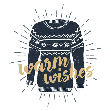 "label with textured Christmas sweater illustration and ""Warm wishes"" lettering."