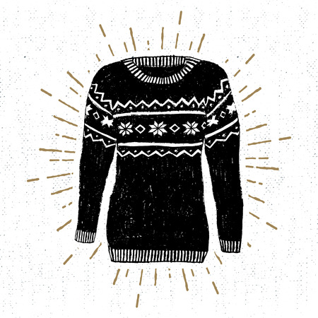 label with textured Christmas sweater illustration.