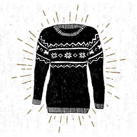 Label met getextureerde illustratie van Kerst trui.