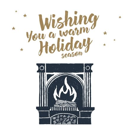 mantelpiece: label with textured fireplace illustration and Wishing you a warm holiday season lettering. Illustration