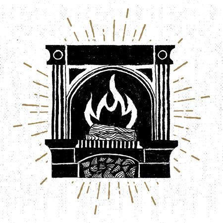 La etiqueta con textura chimenea ilustración. Foto de archivo - 68127911